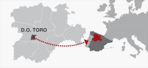 Vino Mapa de situación. Bodegas Francisco Casas. D.O. Toro